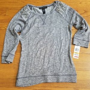 NWT Macys shirt Grey 3/4sleeve sparkle with beads